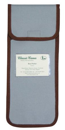 Wallet for Folding Walking Sticks in pale blue with brown trim